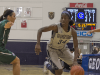 FILE PHOTO: CLAIRE SOISSON/THE HOYA Freshman guard Dorothy Adomako scored a career-high 20 points and grabbed 10 rebounds in the Hoyas' loss to Florida.