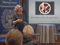 "VALERIA BALZA/THE HOYA Professor Daniel Nexon related ""The Hunger Games"" to modern politics in his talk."