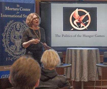 "VALERIA BALZA/THE HOYA Professor Daniel Nexon related ""The Hunger Games"" to modern politics in his talk."