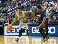 FILE PHOTO: NATE MOULTON/THE HOYA Junior guard D'Vauntes Smith-Rivera led the Hoyas against Towson, scoring 16 points in the contest. Smith-Rivera is averaging a team-high 14 points this season.