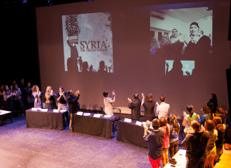 """FILE PHOTO: MICHELLE XU/THE HOYA The Georgetown performance of """"Syria: The Trojan Women,"""" was delayed after the performers were denied U.S. visas. Their voices were later able to be heard through a summit that included panelists and a live video chat."""