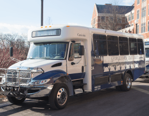 FILE PHOTO: DANIEL SMITH/THE HOYA The Georgetown University Law Center GUTS bus route will now connect main campus with Capitol Hill, facilitating internship access.
