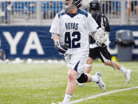CLAIRE SOISSON/THE HOYA Sophomore midfielder Peter Conley (No. 24 this season) led Georgetown's offense in 2014 with 24 goals and 37 points. Last month, Conley was named to the Preseason All-Big East team for 2015.