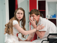 "Olivia Duff (COL '16) and Conor Ross (COL '16) in Nomadic Theatre's ""Sick"" last January."