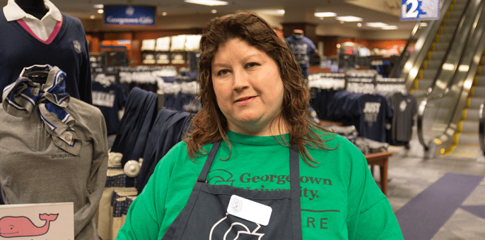 DANIEL SMITH/THE HOYA Georgetown Bookstore employee Luanne Buzzanca likes to spend her free time finding ways to express herself and getting creative in the form of poetry.