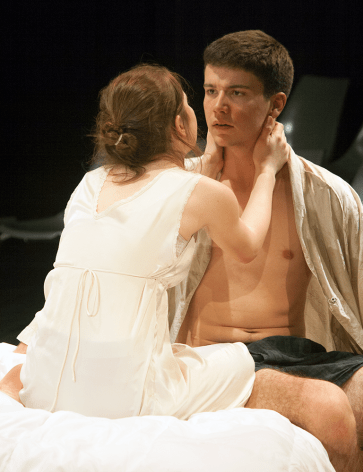 "SOPHIE FAABORG-ANDERSON FOR THE HOYA Michaela Farrell (COL '18) and Nick Phalen (SFS '16) in ""That Face."""