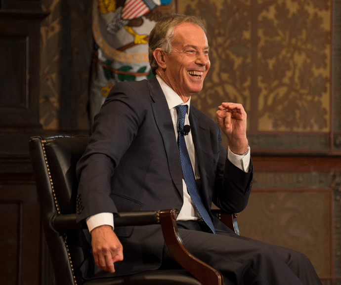 NATE MOULTON/THE HOYA Former Prime Minister of Great Britain and Northern Ireland Tony Blair talked development in Africa in Gaston Hall Thursday.