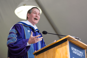 ALEXANDER BROWN/THE HOYA Charlie Rose addressed the Class of 2015 at the College's commencement ceremony.