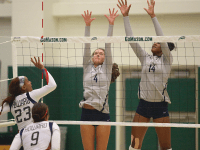 COURTESY GEORGETOWN SPORTS INFORMATION OFFICE Freshman setter Paige McKnight (4) had 42 assists and 13 digs and freshman middle blocker Symone Speech added 15 kills against Georgia.