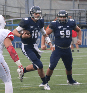FILE PHOTO: ISABEL BINAMIRA/THE HOYA Senior quarterback Kyle Nolan threw for 264 yards and two touchdowns in Georgetown's recent 24-16 win over Columbia.