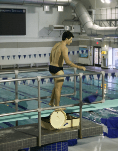 CAROLINE KENNEALLY FOR THE HOYA Junior Jared Cooper-Vespa won first place in the three-meter diving competition at the Hoyas' meet last weekend.