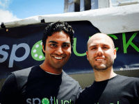 COURTESTY CHERIAN THOMAS Spotluck co-founders Cherian Thomas (GRD '14) and Brad Sayler hope to promote business at  local restaurants by offering discounts to customers based on a special algorithm that changes based on demand.