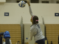 FILE PHOTO: STANLEY DAI/THE HOYA Freshman outside hitter Alyssa Sinette leads the team with 323 kills this season, an average of 3.15 percent per game. Sinette also has recorded 197 digs and has started 25 of the team's 26 games.