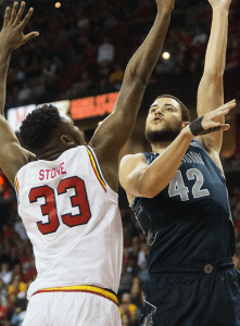 ISABEL BINAMIRA/THE HOYA Senior center and co-captain Bradley Hayes scored 16 points and grabbed eight rebounds in Georgetown's 75-71 loss to Maryland.