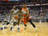 ISABEL BINAMIRA/THE HOYA Freshman forward Marcus Derrickson scored 13 points and grabbed a team-leading 10 rebounds in Georgetown's 79-72 win over Syracuse.