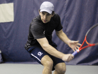 FILE PHOTO: JULIA HENNRIKUS/THE HOYA So far in his career on the men's tennis team, senior Daniel Khanin has logged records of 15-17, 10-11 and 6-10 in singles play during his freshman, sophomore and junior seasons, respectively.