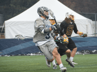 FILE PHOTO: KATHLEEN GUAN/THE HOYA Sophomore attack Stephen Quinzi scored one goal and had one assist in Georgetown's 12-7 loss to No. 1 Notre Dame on Saturday.