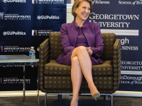 """STANLEY DAI/THE HOYA Former Hewlett-Packard Executive Officer Carly Fiorina discussed her bid for the 2016 presidential nomination as part of the GU Politics series """"Reflections on Running"""" March 15."""