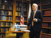 JENNA CHEN/THE HOYA Professor George Akerlof, winner of the 2001 Nobel Prize in economics, spoke about his new book, 'Phishing for Phools,' the dangers of the free market and the benefits of deregulation at the Carroll Round's second Professor Speaker Series in the McGhee Library.