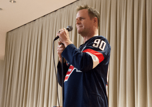 """ELIZA MINEAUX/THE HOYA Comedian Dave Coulier, best known for his role as Uncle Joey on the ABC sitcom """"Full House,"""" performed a stand-up routine in an event hosted by the Georgetown Program Board in the Healey Family Student Center last Thursday."""