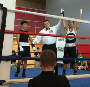 COURTESY GEORGETOWN CLUB BOXING Senior co-captain Jeff Wong, right, defeated his opponent in the men's 132-novice bracket to win a national title at the USIBA National Championship tournament last weekend.