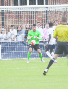 FILE PHOTO: NAAZ MODAN/THE HOYA Sophomore goalkeeper JT Marcinkowski has played in all 180 minutes this season and allowed two goals.