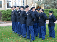 FILE PHOTO: KATHLEEN GUAN/THE HOYA Student veterans, pictured here attending the Veteran's Day Ceremony last fall, have defended Georgetown's support for veterans, particularly because of the work done by GUSVA.