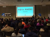 HOYA HACKS Over 300 student competitors from more than 130 universities from all over the country participated in a 36-hour hackathon in the Healey Family Student Center to test their software and hardware skills.