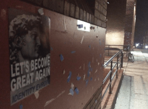 IDENTITY EVROPA White nationalist group Identity Evropa posted a series of posters on and off campus Sunday night at locations such as Village A and Red Square.