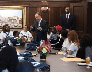 GEORGETOWN UNIVERSITY University President John J. DeGioia has met with a series of descendants since this summer in an effort to reconcile Georgetown's history with slavery.
