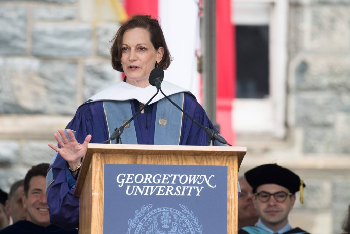 PHOTO COURTESY GEORGETOWN UNIVERSITY Pulitzer Prize-winning historian and columnist Anne Applebaum said the mission of the School of Foreign Service is under attack in her commencement address to the SFS Class of 2017.