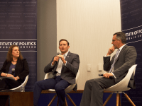 ALYSSA ALFONSO FOR THE HOYA Two former Florida congressmen, Congressman Patrick Murphy (D-Fla.) and David Jolly (R-Fla.) discussed barriers to bipartisanship in a GU Politics event Tuesday.