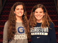 FILE PHOTO: CLAIRE SOISSON/THE HOYA Senior midfielder Rachel Corboz, left, and her sister Daphne (COL '17), both led the Hoyas in points during their time with Georgetown women's soccer.