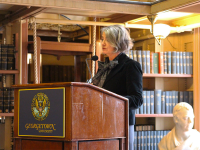SCHOOL OF FOREIGN SERVICE/FACEBOOK Karin Olofsdotter, Ambassador of Sweden, speaks at a Georgetown Institute for Women, Peace and Security event last Wednesday.