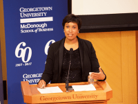 FILE PHOTO: SPENCER COOK/THE HOYA Mayor Muriel Bowser (D-D.C.) promoted her administration's progress on higher education and homelessness in her fourth State of the District address.
