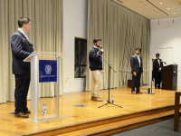 AARON WEINMANN FOR THE HOYA Four candidates for president of the Georgetown University Student Association discussed their qualifications and policy priorities in a presidential debate Monday.