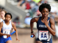 GUHOYAS Senior sprinter Jody-Ann Knight came in second place in the 400m dash with a time of 57.93, just over two seconds slower than her personal record at Georgetown.