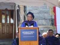GEORGETOWN UNIVERSITY Del. Eleanor Holmes Norton (D - D.C.) urged Georgetown University Law Center graduates to use their knowledge to teach others the importance of freedom of speech in her commencement address Sunday afternoon.