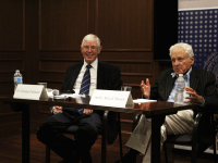 ASHLEY CHEN FOR THE HOYA Professor Dennis Deletant (left) and Alfred Moses (LAW '56) (right), former U.S. ambassador to Romania, spoke about Moses' efforts to help rebuild Romania following the collapse of the Soviet Union during his time as ambassador at an event Tuesday.