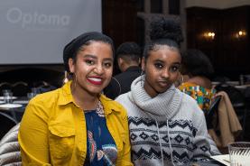 Heere Hassan and Kia Muleta smile for the camera STEPHANIE YUAN/THE HOYA