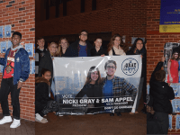 KIKI SCHMALFUSS/THE HOYA | Norman Francis Jr. (COL '20) and Aleida Olvera (COL '20), Nicki Gray (NHS '20) and Sam Appel (COL '20), and Sina Nemazi (COL '21) and Roya Wolfe (SFS '21) launched GUSA campaigns in Red Square on Friday morning. Ryan Zuccala (MSB '20) and John Dolan (MSB '20) are also running.