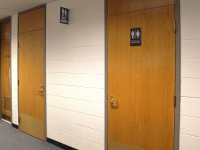 ASHLEY CHEN/THE HOYA | The Office of Planning and Facilities Management began identifying 40 new single-stall, gender-neutral bathrooms in buildings across campus.