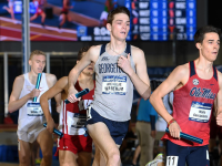 GUHOYAS| Senior Nick Wareham runs the last leg of the distance relay at the 2019 NCAA indoor track and field championships. The Hoyas finished third overall in the event.