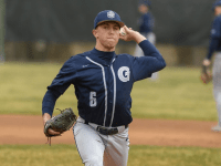 GUHOYAS| Junior pitcher Brent Killam winds up to pitch. Georgetown pitchers only gave up five hits against Campbell.
