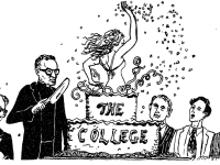 THE HOYA 1968 | After the board of directors approved admitted women into the College, a May 1968 cartoon in The Hoya showed a woman popping out of a cake, surrounded by men showing faces of amusement, shock and disapproval. Women first attended the College in 1969. By 1976, half of the student body was female; now, women comprise 56 percent of the student body.