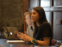 Margaret Fouberg for The Hoya | Outgoing GUSA Speaker Eliza Lafferty (COL '21) speaks at a Senate meeting this semester. The Senate was scheduled to approve the results of the referendum at a meeting Sunday before the suit was brought before the Senators.