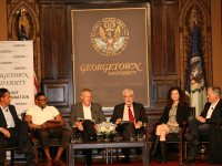 ELLIE STAAB FOR THE HOYA | Panelists discussed free speech rights of incarcerated Americans at an event in Gaston Hall on Tuesday.