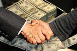 money and hand shakes