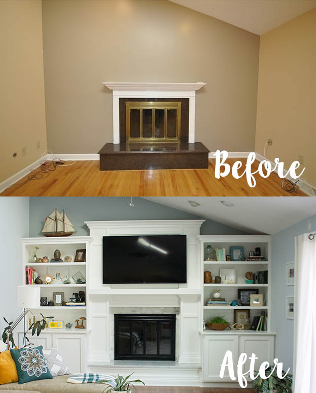 Before and after fireplace built-ins.