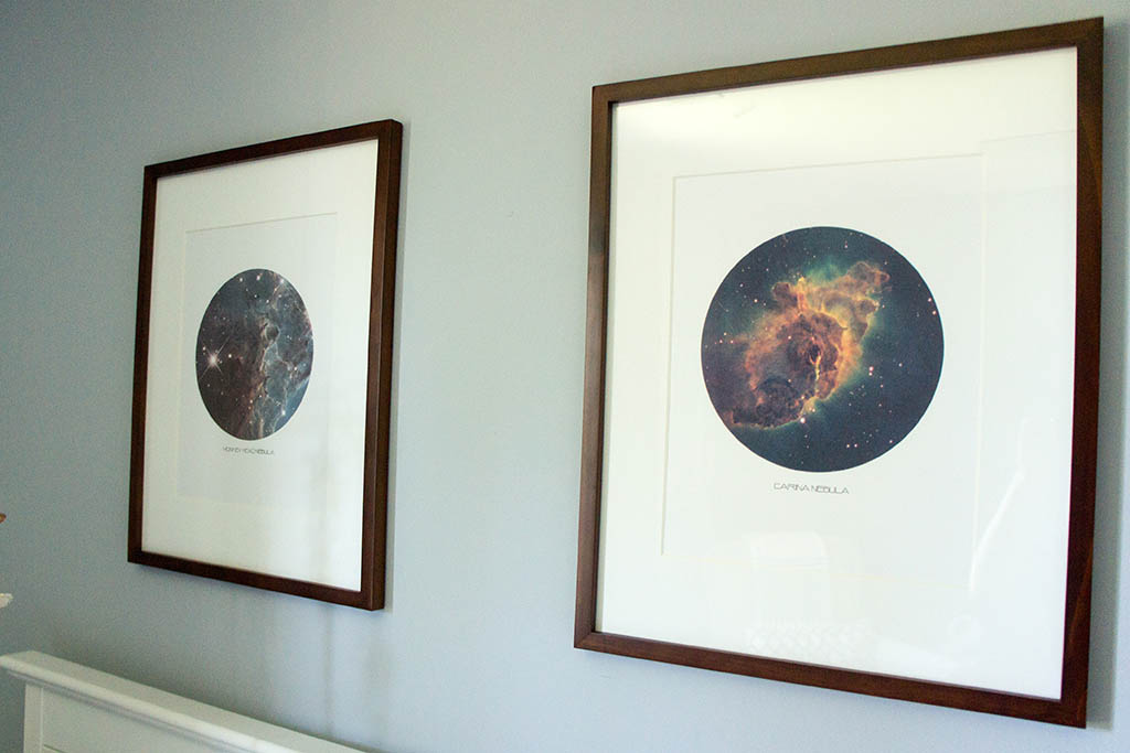 Baby Andrew's space cowboy themed nursery. Space artwork made with images from Hubble.